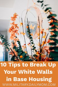Skip the endless Pinterest scrolling and check out these creative, cost-effective ways to decorate white walls without breaking regulations or sinking your security deposit.  #whitewalls #homedecor #military #basehousing