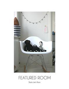 Black and White garland by Happy August www.bcbasics.com  Black.Grey.Light Pink Children Room via La Petite Magazine.
