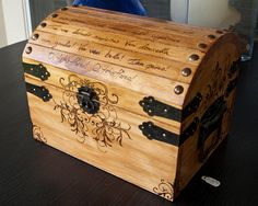 Small Woodburned Wood Chest by CrystalKittyCat on Etsy