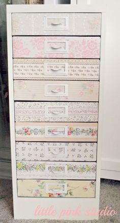 filing cabinet makeover with vintage wallpaper ~  great way to spruce up an ugly filing cabinet