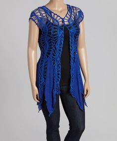 Blue Crochet Vest - Plus by Life and Style Fashions #zulily #zulilyfinds