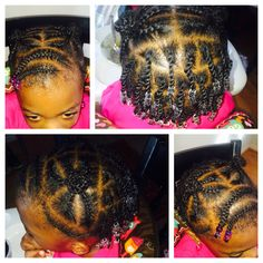 Mini Afro puffs and individual twists with brad for toddler with short hair. More styles on IG @theclairk