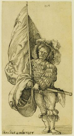 """The standard bearer wears an elegant doublet with wide, flowing sleeves that have been quite literally """"torn to ribbons."""" The fashion for slashing garments became extremely popular in Europe in the early 1500s, particularly in Germany, where it reached the most extravagant levels. A Standard Bearer; Sebald Beham (German, 1500 - 1550); 1519; Pen and black ink; 18.1 × 9.5 cm (7 1/8 × 3 3/4 in.); 94.GA.53; J. Paul Getty Museum, Los Angeles, California"""