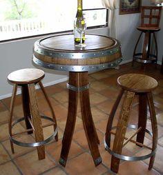 Wine Barrel Bistro Table and Chairs http://www.uniquebarrels.com/