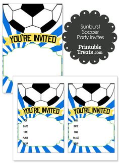 Blue Sunburst Soccer Party Invites from PrintableTreats.com