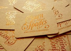 """The Queen of Spades aka Katie Rushworth is a garden designer and the star of Alan Titchmarsh's new TV show – Love Your Garden. The Queen of Spades has been transformed into a strong and clear brand reflecting her love of what she does. The outcome was a mix of an elegant logo design, with embossed copper foil,  paired with Cairn uncoated, textured board at 1000mic."""