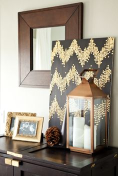boxwood clippings_diy thumb tack art. Touches of fall in the house