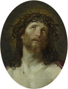 Guido Reni, Head of Christ Crowned with Thorns,  1640-1749. Oil on wood, 56 x 42.8 cm.  The National Gallery, London