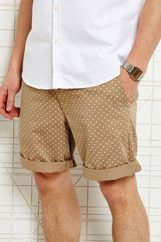 Polka dot shorts.