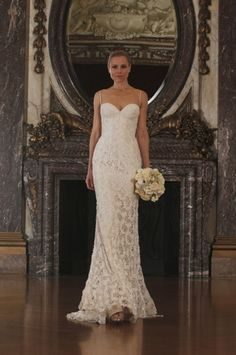 Romona Keveza Collection - Sweetheart Sheath Gown in Beaded Lace