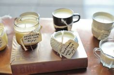 """Great wedding favor idea! Homemade candles in different cups or jars with a little note that says: """"made with love. enjoy!"""""""