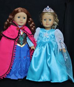 Ready to ship today!!  18 in. Anna and Elsa Doll Dresses  for American Girl Doll. Hand made in the USA, by me :)