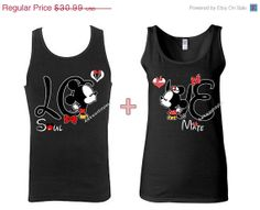 Mickey Minnie Kissing Disney COUPLE Tank top TANK TOP .Love Couple. Soul Mate . Shirt Inspired .6 Colors .Hes mine shes mine.Couple shirt