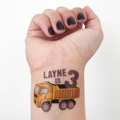 12 dump truck temporary tattoos customized with your childs name and age! Perfect for a construction party and party favors! Packaged up all together super cute with a little sponge!