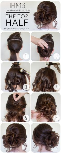 1)Section out the hair from the ears and up and clip it aside for later. Put the bottom half of the hair in a low ponytail. 2 - Wrap the ponytail around itself to create a bun, securing with bobby pins. Don't spend too much time on this, it will all be hidden. 3 - Let down to rest of the hair, except for the mohawk section, and curl everything loosely away from the face using a flat iron or curling iron. 4- When you are ready to curl the mohawk section, over direct the hair straight up as…