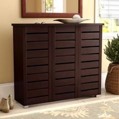 Darby Home Co Slatted 20 Pair Shoe Storage Cabinet - Schuh Schrank Wooden Cabinets, Storage Cabinets, Storage Shelves, Storage Spaces, Storage Organization, Wooden Shoe Cabinet, Wooden Shoe Racks, Shoe Shelves, Open Shelving