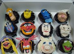 Muppets Theme Bridal Shower  | We made these cupcake toppers using the poster from the movie as a ...