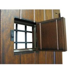 Rustic Mahogany Type Stained Distressed Solid Wood Speakeasy Prehung Front  Door 2 Panel V Groove Pre Finished
