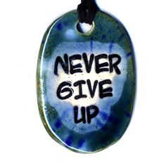 Never Give Up Ceramic Necklace in Blue by surly on Etsy, $18.00