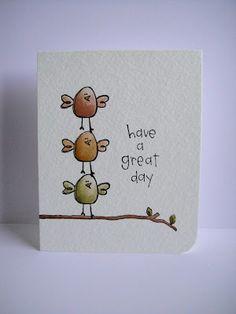 Purple Onion Designs and Donna Mikasa (three umbrellas). 3 little birds! Fingerprint Art, Art Carte, Karten Diy, Bird Cards, Watercolor Cards, Watercolour, Cute Cards, Homemade Cards, Cardmaking