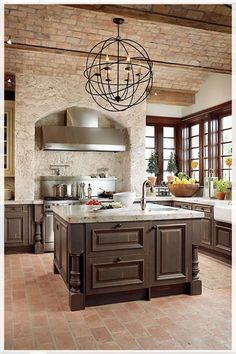 Tuscan Kitchen Design On A Budget. Tuscan Kitchen Design On A Budget. Tuscan Kitchen Design On A Bud Tuscandesign Tuscan Kitchen Design, Industrial Style Kitchen, Tuscan Design, Tuscan Kitchens, Tuscan Style, Dream Kitchens, Rustic Design, Brick Floor Kitchen, Exposed Brick Kitchen