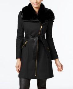 Via Spiga Petite Faux-Fur-Collar Mixed-Media Wool-Blend Walker Coat | macys.com