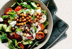 Chopped Salad with Bacon and Fried Garbanzo Beans  Healthier version/less oil and bacon. Looks delicious!