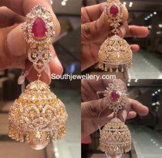 Diamond Ruby Jhumkas Fancy Jewellery, Indian Jewellery Design, Indian Jewelry, Gold Jewelry, Jewelry Design, Fashion Jewellery, Designer Jewelry, Diamond Jhumkas, Gold Diamond Earrings
