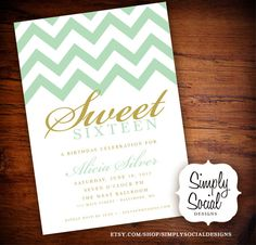 Sweet 16 Birthday Party Invitation with Chevron Mint Green and Gold.