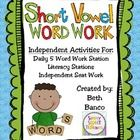 "This pack of ""No Fuss"" interactive short vowel word work activities is PERFECT for the teacher who is tired of all the cutting and laminating!!  Th..."