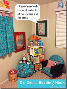 Dr. Seuss Book Nook, tips on creating a reading spot in your home.