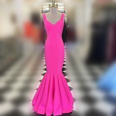 Mermaid Long Prom Dress, 2017 Prom Dress, Hot Pink Prom Dress, Elegant Evening Dress