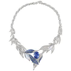 La Nature de Chaumet Firmament Apollinien necklace in white gold and sapphire laurel necklace