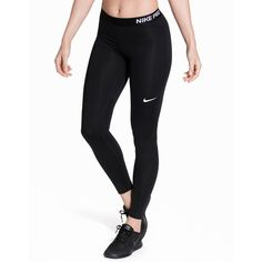 Nike Pro Cool Tight ($55) ❤ liked on Polyvore featuring activewear, activewear pants, black, sports fashion, tights, womens-fashion, logo sportswear, nike, nike sportswear and nike activewear pants