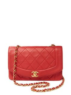 Red Quilted Lambskin Border Flap Small by Chanel at Gilt