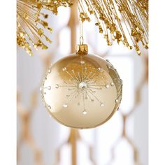Embellished Beige Opalescent Ball Christmas Ornament (€19) ❤ liked on Polyvore featuring home, home decor, holiday decorations, beige, christmas ball ornaments, white dove christmas ornaments, glass ball christmas ornaments, champagne colored christmas ornaments and xmas ball ornaments