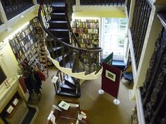 Library with a spiral staircase!