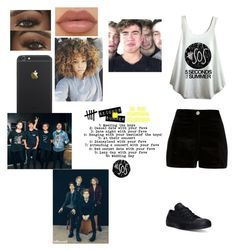 """5:at their concert"" by gigis-unicorn ❤ liked on Polyvore featuring River Island, Converse and NYX"