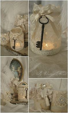 beautiful jar makeovers from nellyvintagehome.blogspot....this blog is so pretty and feminine... #shabbychiccrafts