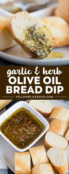 This Spicy Garlic & Herb Olive Oil Bread Dip served with a crusty french baguette or crostini and you will be the talk of the dinner table. Pin This Recipe Now! #appetizerrecipe #yellowblissroad