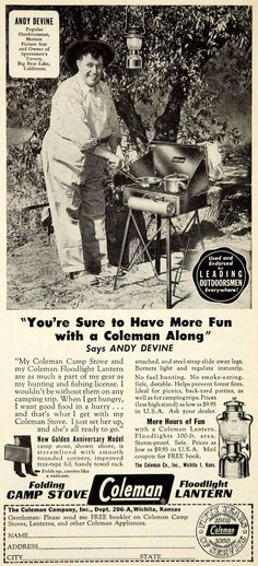 This is an original 1950 black and white print ad for the folding camp stove and floodlight lanterns that were made and sold by the Coleman Company, Inc. of Wichita, Kansas (KS). The ad also featured