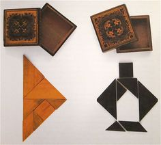 Two Tangram in Tangerine Boxes | c. 1850