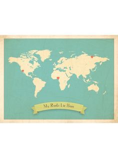 Lovely world map for marking out heritage, hand printed in the USA.