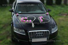Autoschmuck Hochzeit Mauve-farbe Roses Rattanherz von weddingcardecoration auf DaWanda.com