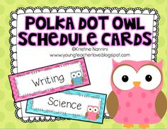 Oh my goodness! These owl schedule cards are cute$!