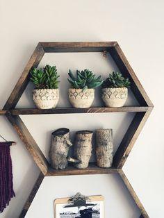 Hexagon shelves by Woodengeometric on Etsy