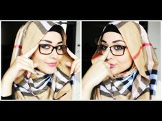 Hijab tutorial with glasses - Hijab with glasses Tutorial - Hijab Style Hijab Chic, Easy Hijab Style, Simple Hijab Tutorial, Hijab Style Tutorial, How To Wear Hijab, How To Wear Scarves, Muslim Fashion, Hijab Fashion, College Girl Image