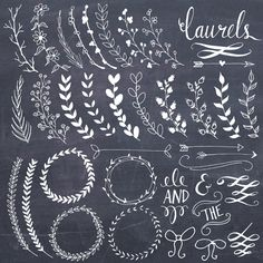 CLIP ART: Chalkboard Laurels & Wreaths // Plus by thePENandBRUSH
