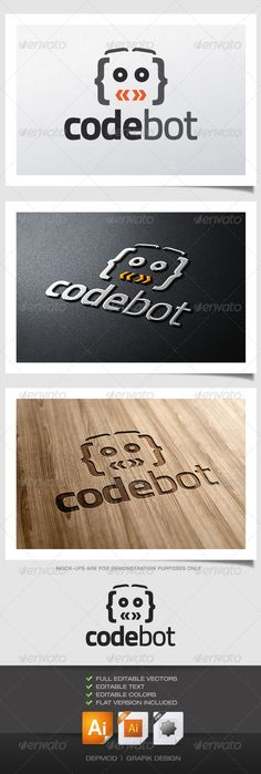 Code Bot Logo  #GraphicRiver         Logo of a robot face built with code symbols. Can be used for many kind of project.