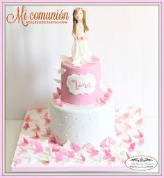 Tartas fondant comunión niñas, Tartas decoradas Comunión, Tartas Personalizadas Comunión, Tartas Comunión Mariposas, Decorated Fondant Cakes